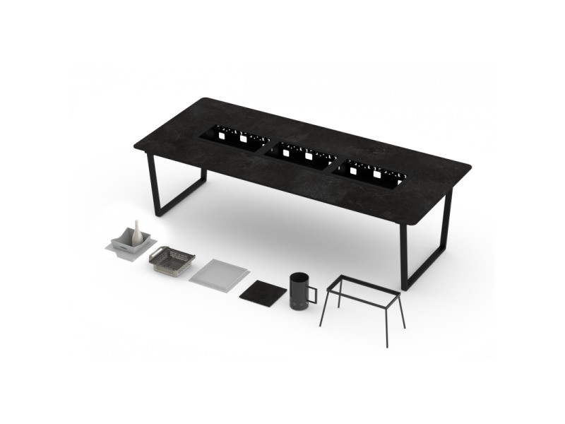 Table classique barbecue intégré cévenne 10-12 personnes - h 760 mm - grill'chic - noir