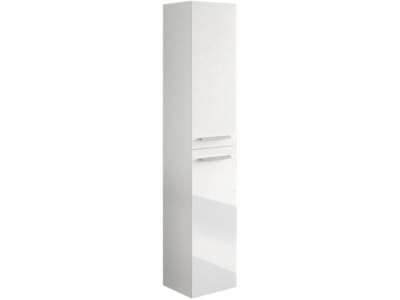 Colonne salle de bain suspendue avec 2 portes coloris blanc laqué - 150 x 30 x 25 cm