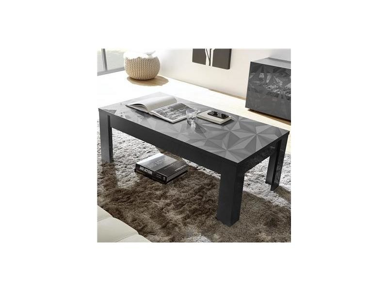 Table basse grise design laqu e avec s rigraphies paolo 3 Table grise conforama