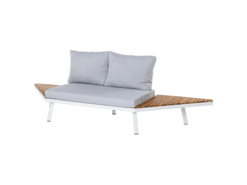 Canapé d'extérieur 2 places bois/aluminium blanc - solor - l 260 x l 70 x h 70 - neuf