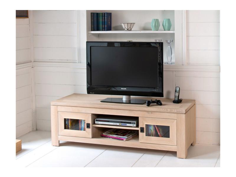 Meuble tv bas en ch ne blanchi boston vente de hellin - Meuble tv chene blanchi ...