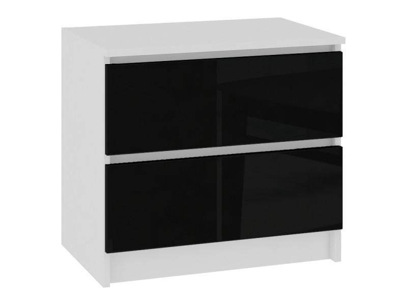 Skandi | table de chevet contemporain chambre 60x55x40 cm | 2 tiroirs larges | design moderne&robuste | table d'appoint | blanc/noir laqué