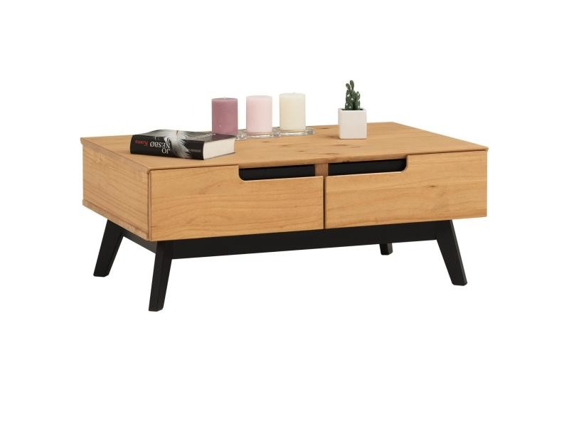 Table basse tibor design vintage scandinave nordique table de salon rectangulaire 2 tiroirs 2 niches pin massif finition bois teinté