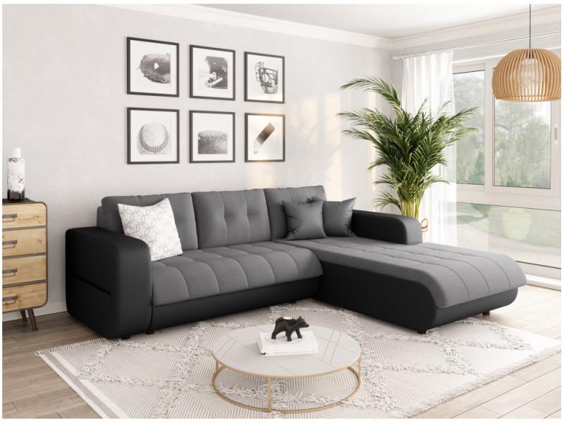 Canapé d'angle suzie convertible en simili et microfibre - angle droit, gris / noir CELIAPUNRMFGRCD