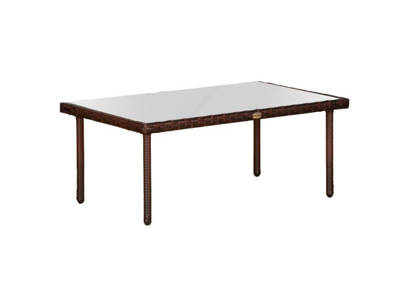 Table basse de jardin plateau verre trempé 5 mm résine tressée imitation rotin chocolat