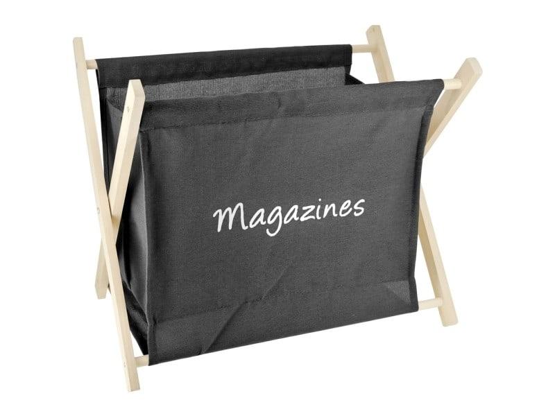 Porte Revues Rangement Magazine Design Vintage Bois Et Lin Noir