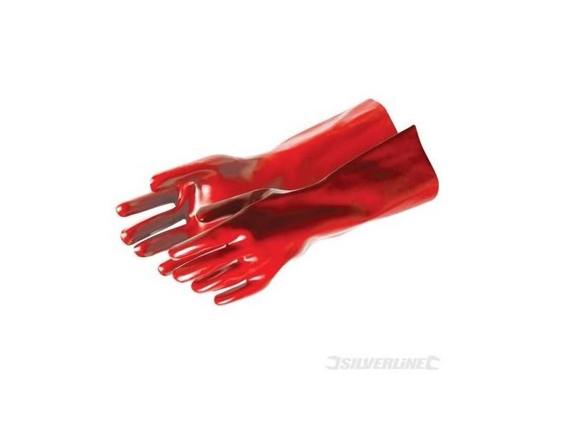 Silverline - gants pvc rouges résistants 40cm
