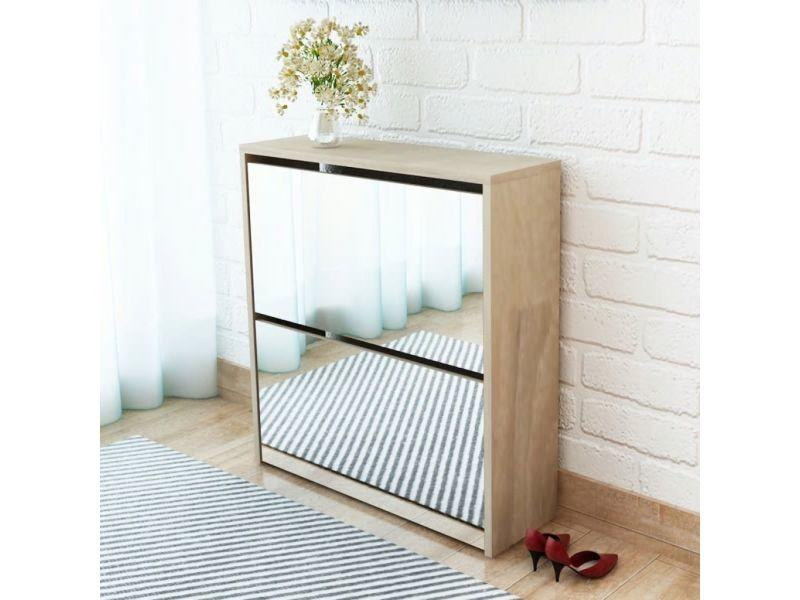 Admirable rangements pour armoires à vêtements ligne monrovia meuble à chaussures 2 étages avec miroir 63 x 17 x 67 cm chêne