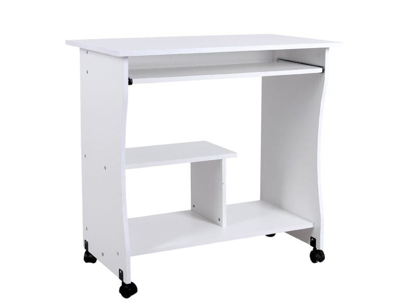 Bureau table meuble informatique avec tablette clavier for Table bureau bois