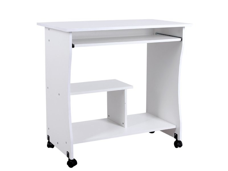 bureau table meuble informatique avec tablette clavier bois blanc helloshop26 0512007 vente de. Black Bedroom Furniture Sets. Home Design Ideas