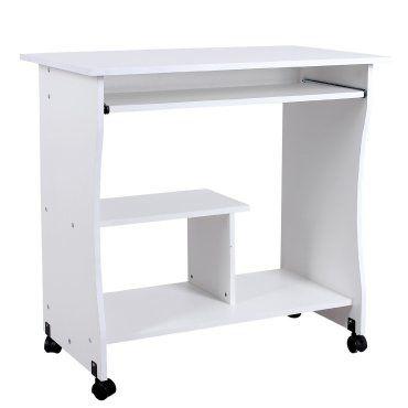Bureau table meuble informatique avec tablette clavier bois blanc