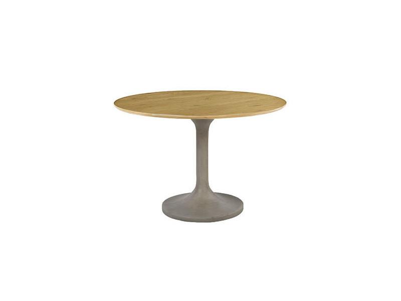 Table repas ronde 112cm plateau bois - beton