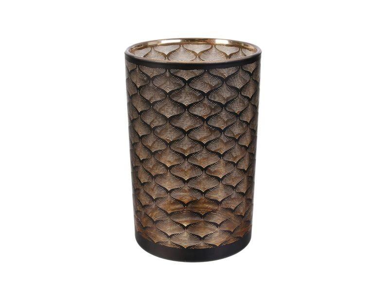 Vase design en verre aster - h. 20 cm - noir