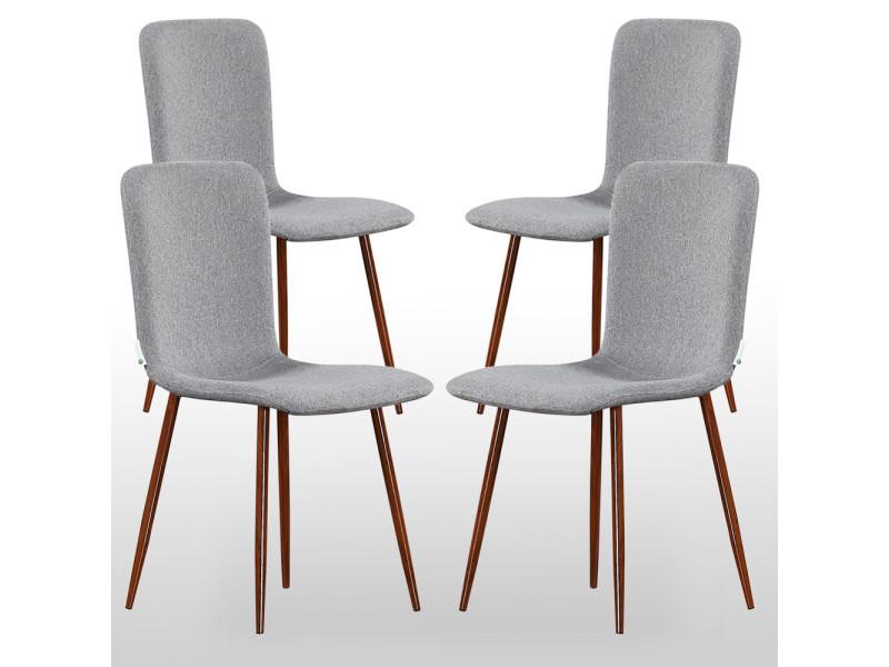 Lot de 4 chaises en tissu grises
