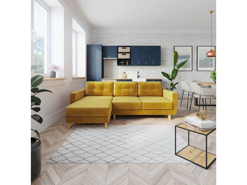 Canapé d'angle convertible - bertram - jaune miel - pieds en bois