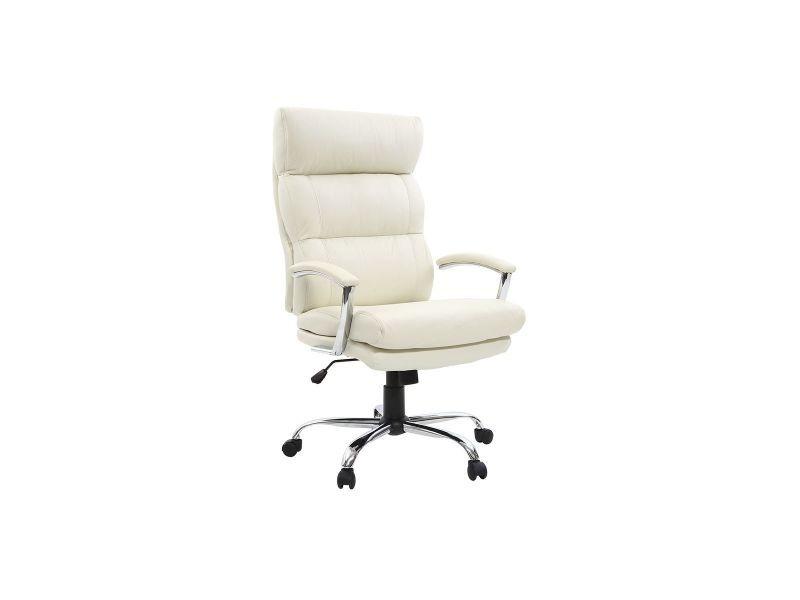 Fauteuil de bureau design cuir blanc tilio - cuir de vache
