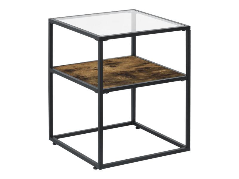 Table d'appoint avec étagère de design épuré pour salon table basse carrée plateau en verre trempé capacité de charge 15 kg acier laqué panneau de particules 55 x 43 x 43 cm effet bois foncé noir [en.casa]
