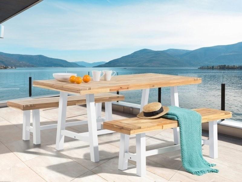 Set de jardin table et bancs en bois avec pieds blancs scania 38052