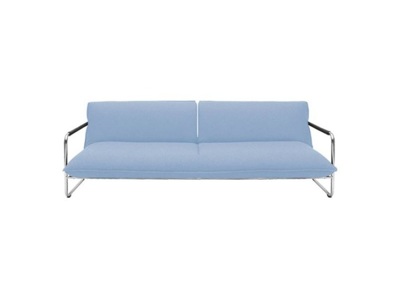 Canape Lit Convertible Design Nova 3 Places En Tissu Laine Bleu