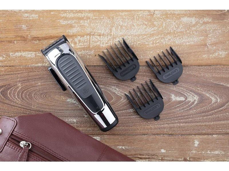 Coffret premium tondeuse a cheveux avec lames inox auto-affutées et 8 guides de coupe gris noir