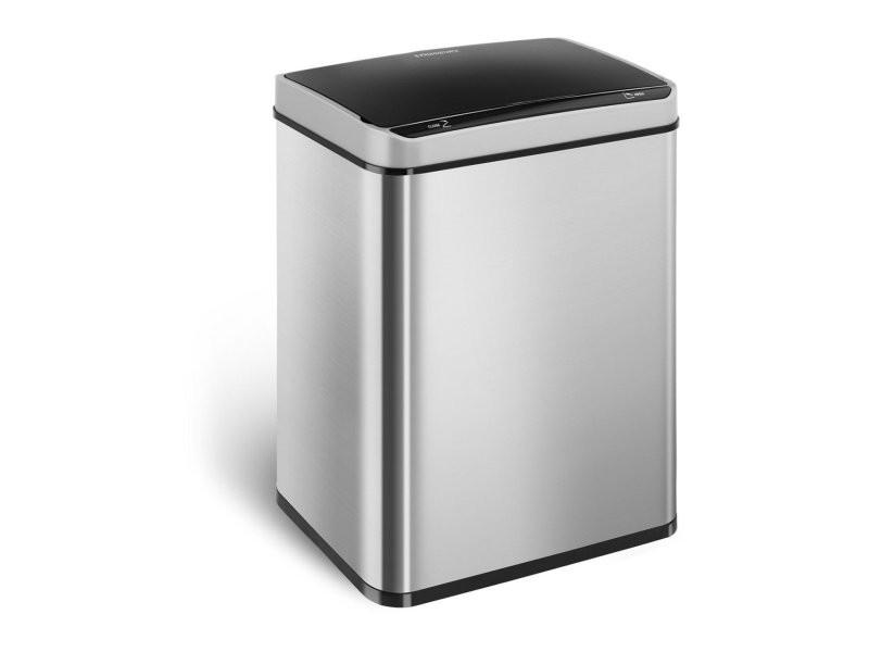 Poubelle automatique 50 litres carrée acier inoxydable helloshop26 14_0003102