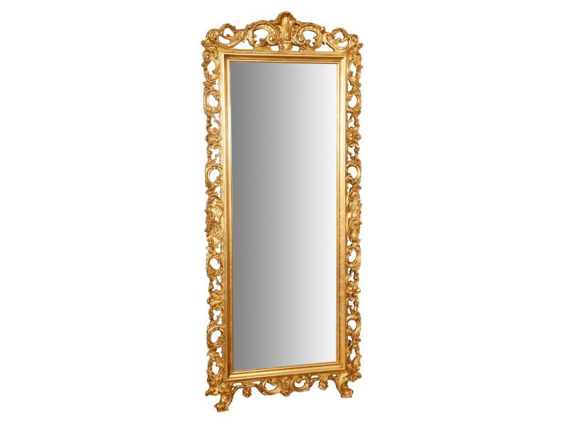 Miroir, long miroir mural rectangulaire, à accrocher au mur, horizontal et vertical, shabby chic, salle de bain, chambre à coucher, cadre finition or antique, grand, long, l82xp4xh191 cm. Style shabby chic.
