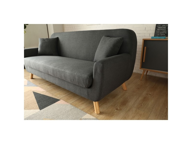 Le Nils Canape Scandinave 3 Places Gris Anthracite 2