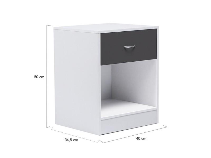 tables tiroir Lot chevet gris bois blanches de Vente de 2 pLVUqGzMS