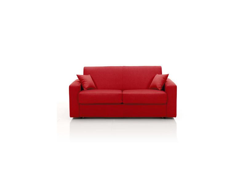Canapé convertible 2 places, tissu déhoussable - rouge