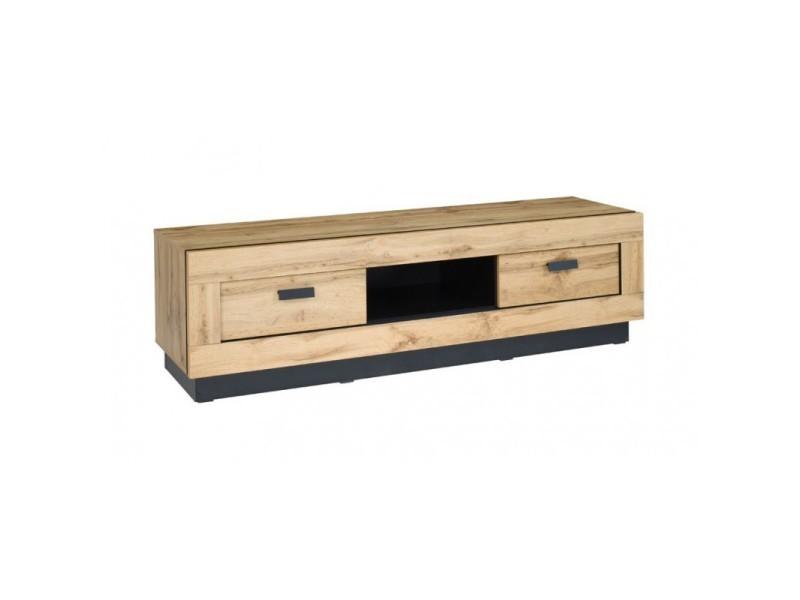 Meuble tv design malaga grand modèle. Idéal pour votre salon. Look moderne et tendance type industriel, bois et métal.