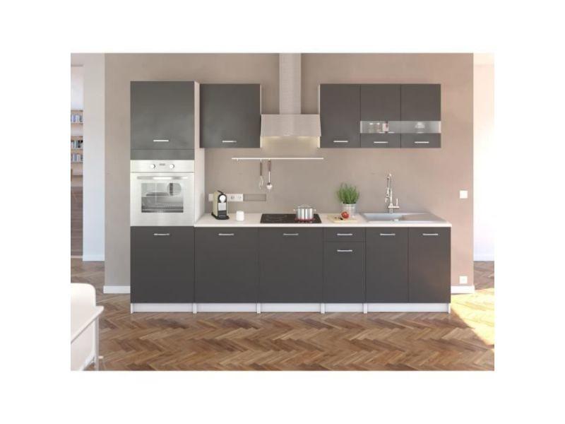 Extra cuisine complete avec colonne four et plan de travail inclus l 300 cm - gris mat 202Z30037