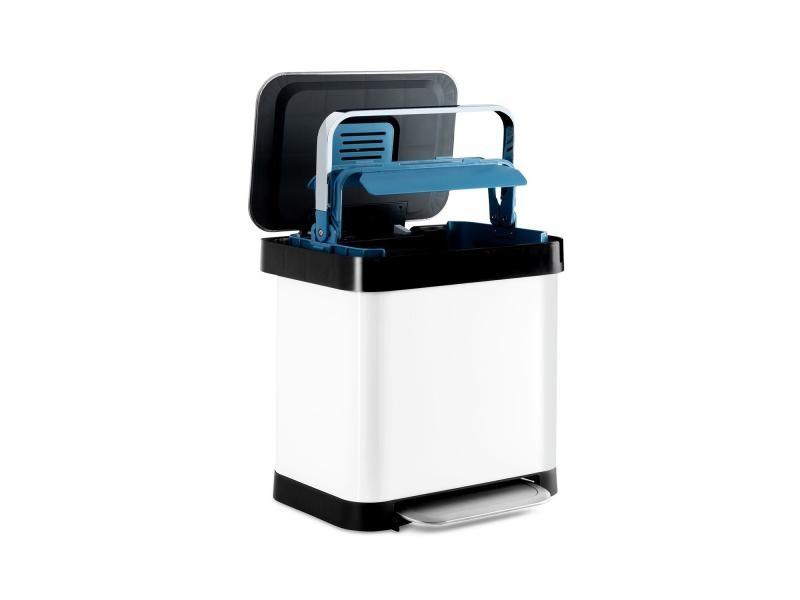 Klarstein trash inn - poubelle à pédale 30 litres, filtre anti-odeurs - inox blanc