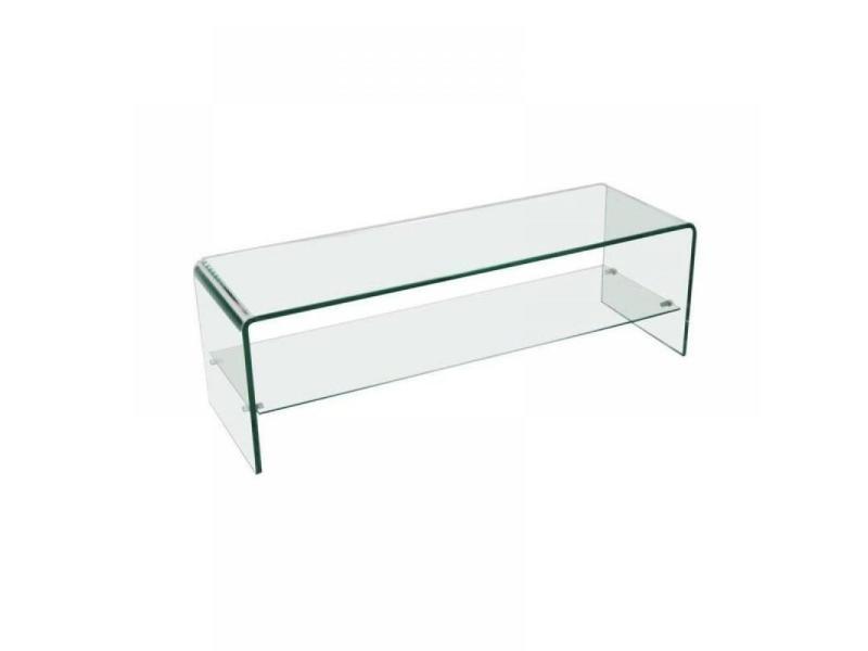 Meuble tv t l design wave verre tremp 2 plateaux 20100827918 conforama - Meuble informatique en verre ...