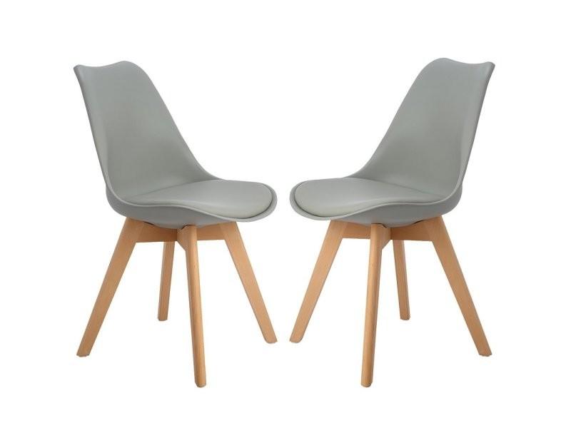 Lot de 2 chaises design contemporain nordique scandinave -tulipe chaises- pieds en bois de hetre massif - gris