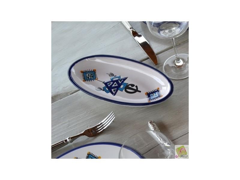 Plat ovale sahel bleu - l 20 cm