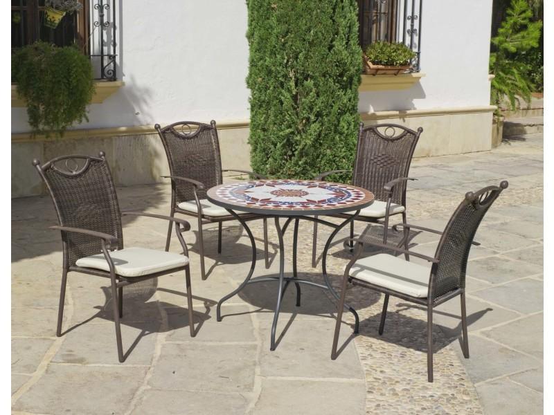 Salon de jardin 4 places en métal et mosaïque dadevil beldey - Vente ...