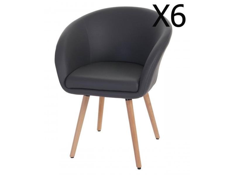 Lot de 6 chaises en polyuréthane coloris gris, h 80 x l 61 x p 56 cm -pegane-