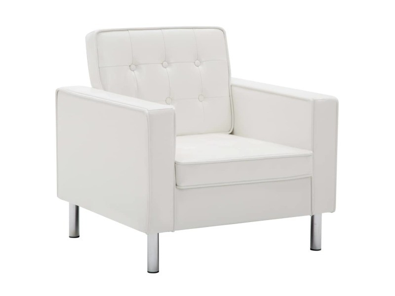 Icaverne - fauteuils club, fauteuils inclinables et chauffeuses lits famille fauteuil revêtement de simili-cuir 75 x 70 x 75 cm blanc