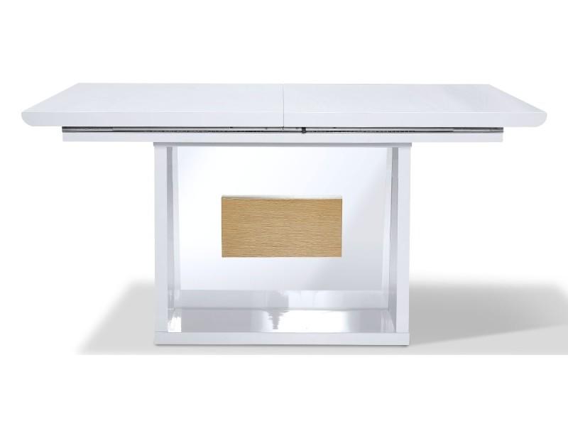 Table à manger extensible bois/laqué mandy- chêne/blanc - blanc