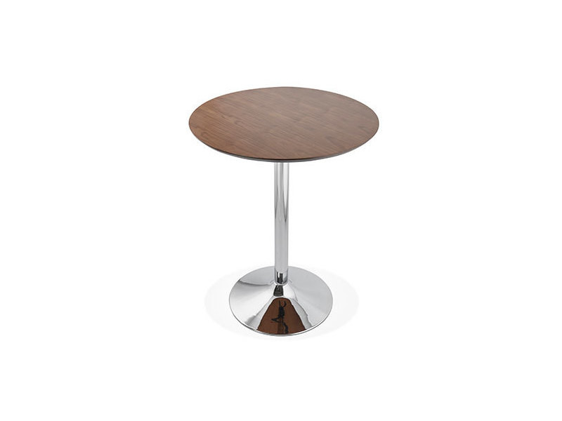 Table de bar ronde 90 cm plateau bois foncé et pied métal - barman