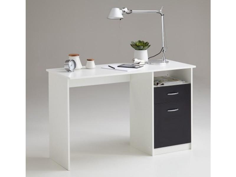 Bureau en bois coloris blanc noir avec tirois et porte dim