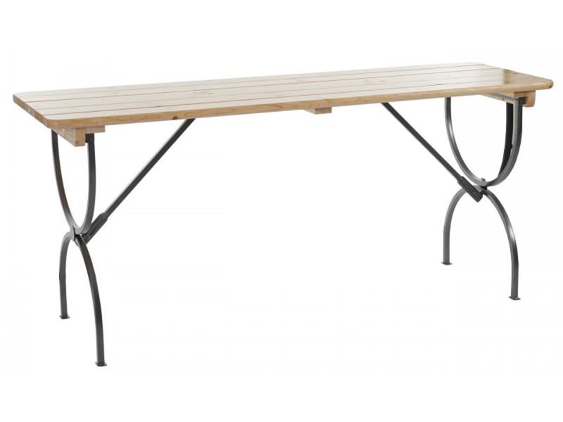 Table de jardin en bois et métal coloris naturel - dim : h ...