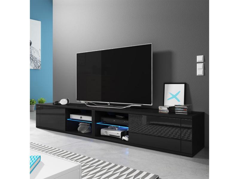 Meuble Tv Banc Tv élégant Double 2x100 Cm Noir Mat Noir