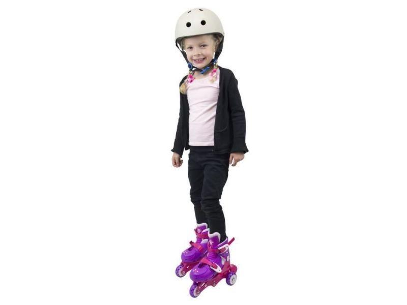Icaverne roller in line rollers inline 2 en 1 (3 roues) coloris rose pour enfant