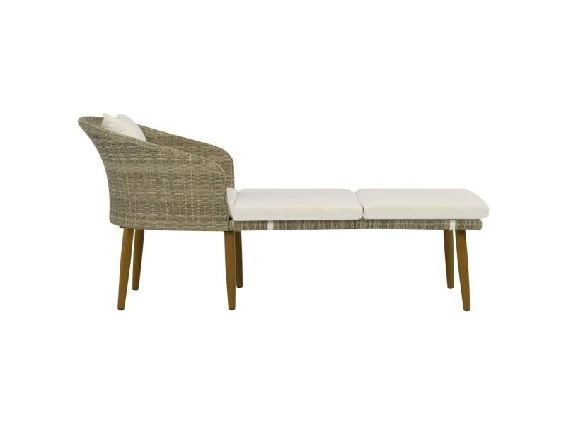 Vidaxl chaise longue de jardin gris/beige résine tressée 44701
