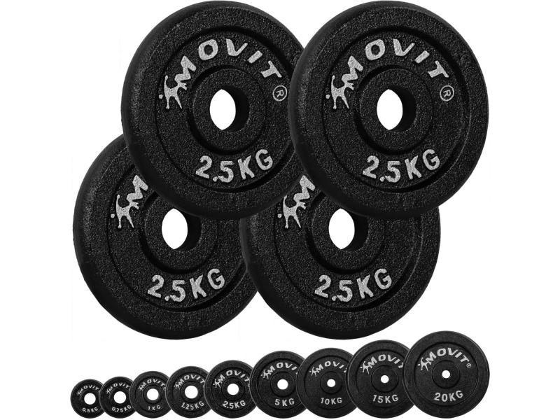 Movit® lot de 4 disques en fonte de 2,5 kg - 10 kg - noir