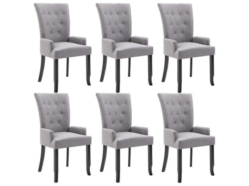 vidaxl chaises de salle a manger avec accoudoirs 6pcs gris clair tissu