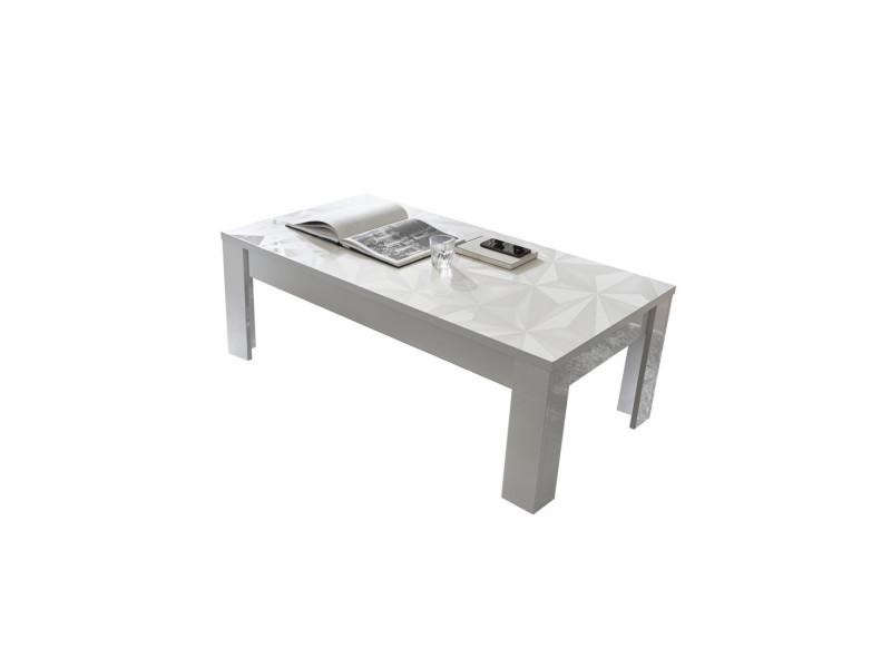 Table basse rectangulaire laquée blanc brillant - kioo - l 122 x l 65 x h 45 - neuf