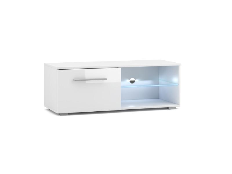 Meuble tv moderniste punes blanc / blanc brillant 200 cm led