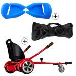 Accessoire hoverboard 6,5 pouces :  pack essentiel 3 en 1 : hoverkart rouge +  coque/housse silicone bleu +  sac de transport